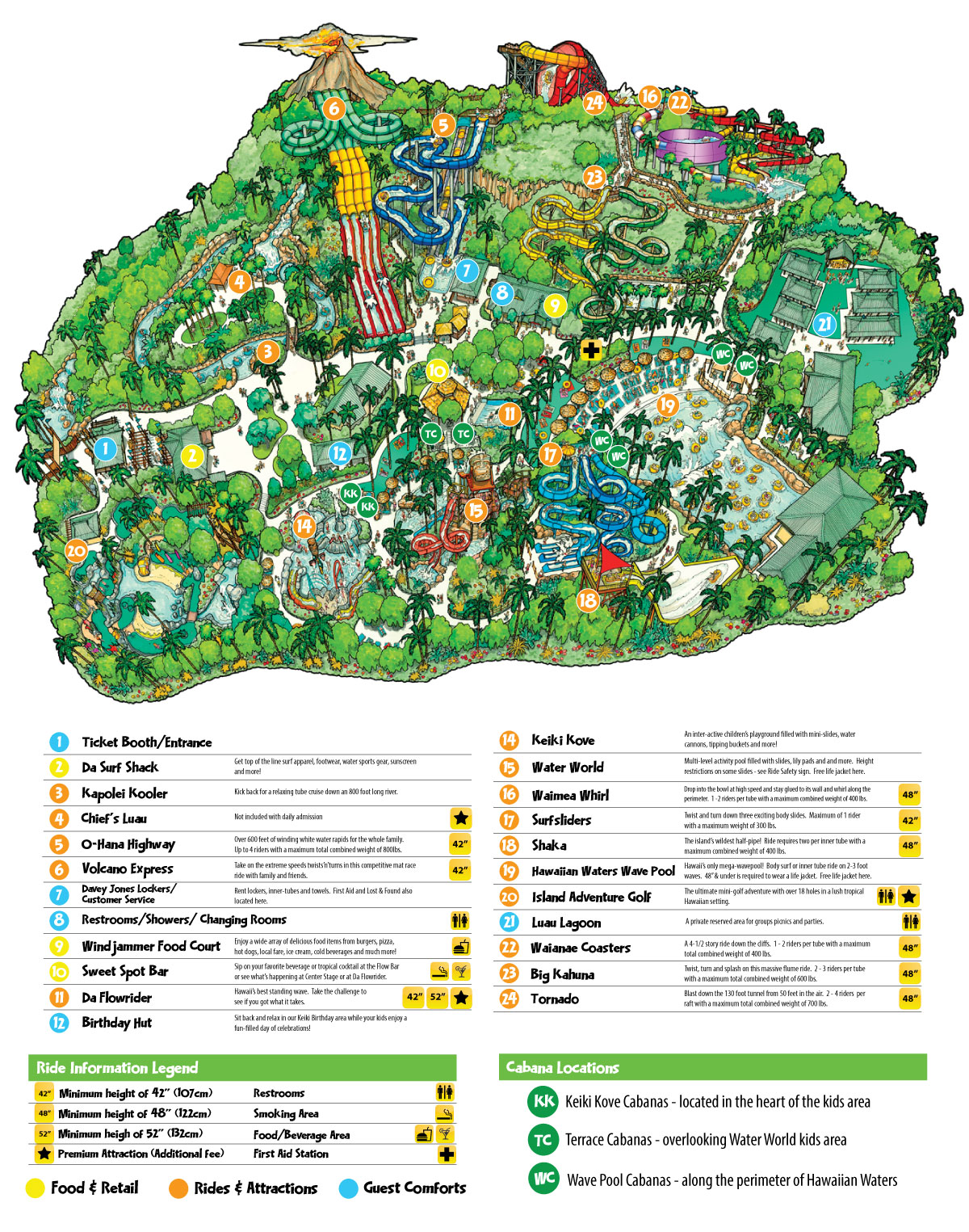 wet n wild hawaii park map overview